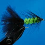 Tadpole Black And Lime Lure L/S Trout Fishing Fly #10 (L160)