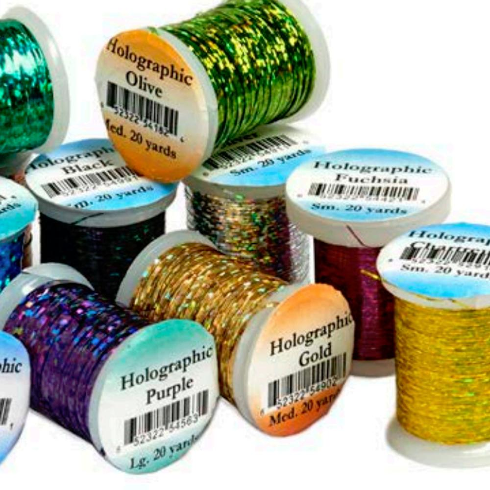 Three sizes Fly Tying Tinsel range of colours, TWO Spools Holographic Tinsel