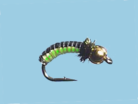 Turrall Juicy Grubs Black/Lime Bead Head - Jg07