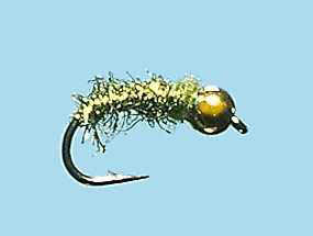 Turrall Bead / Gold Head Caddis Worm Flash Olive - Bh06