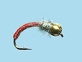 Turrall Bead / Gold Head Caddis Worm Red - Bh07