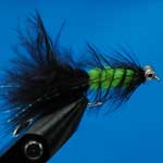 Tadpole Black & Lime Bc Lure L/S Trout Fishing Fly #10 (L349)